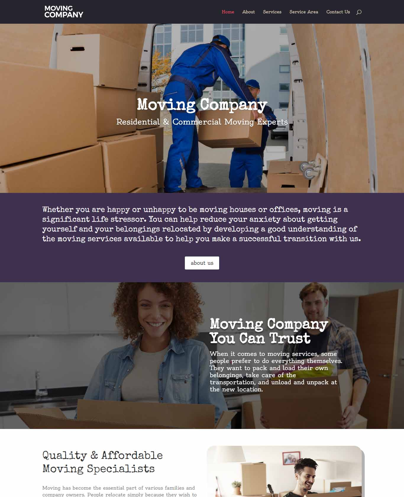 Moving Website Sample Design 4