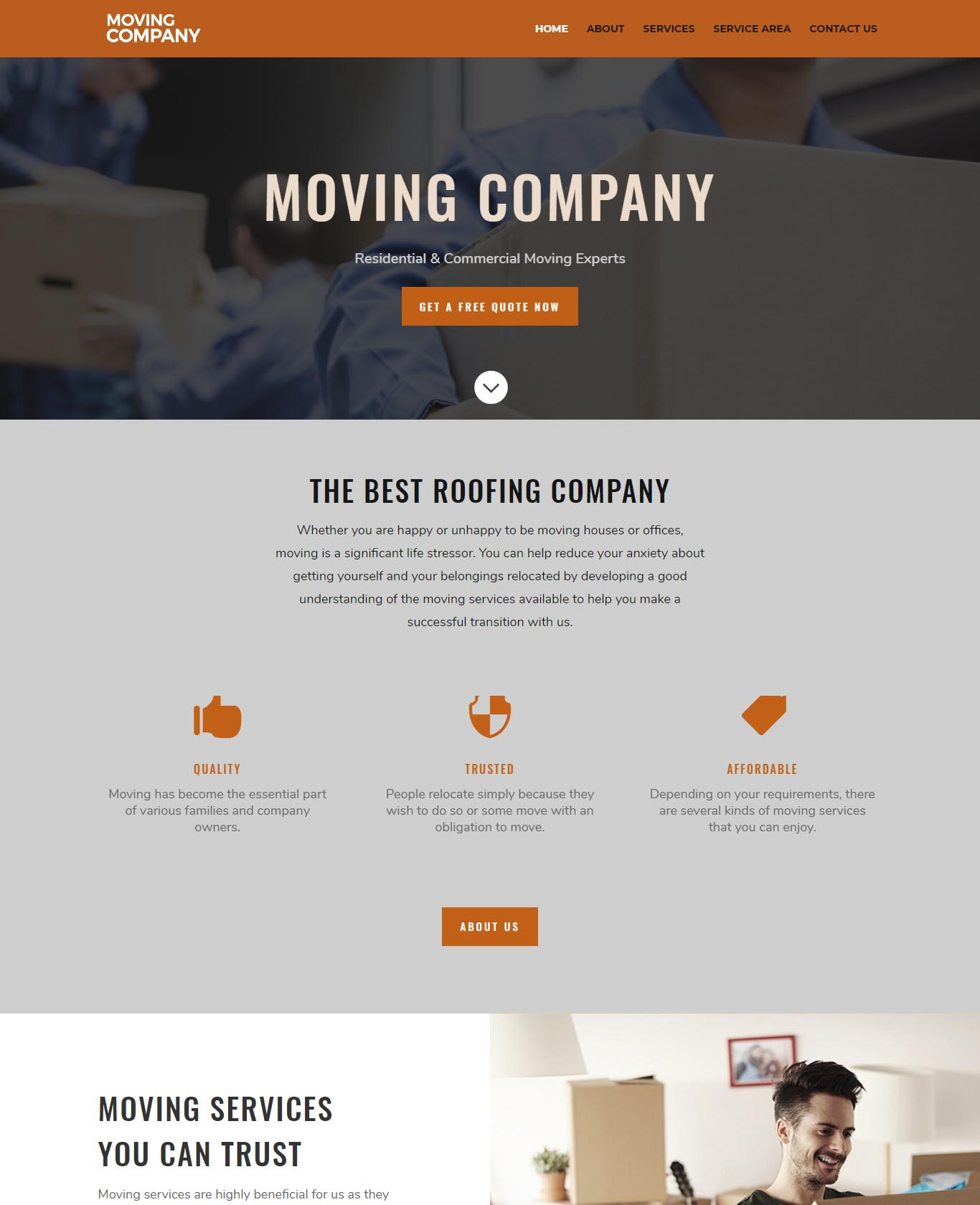 Moving Website Sample Design 2
