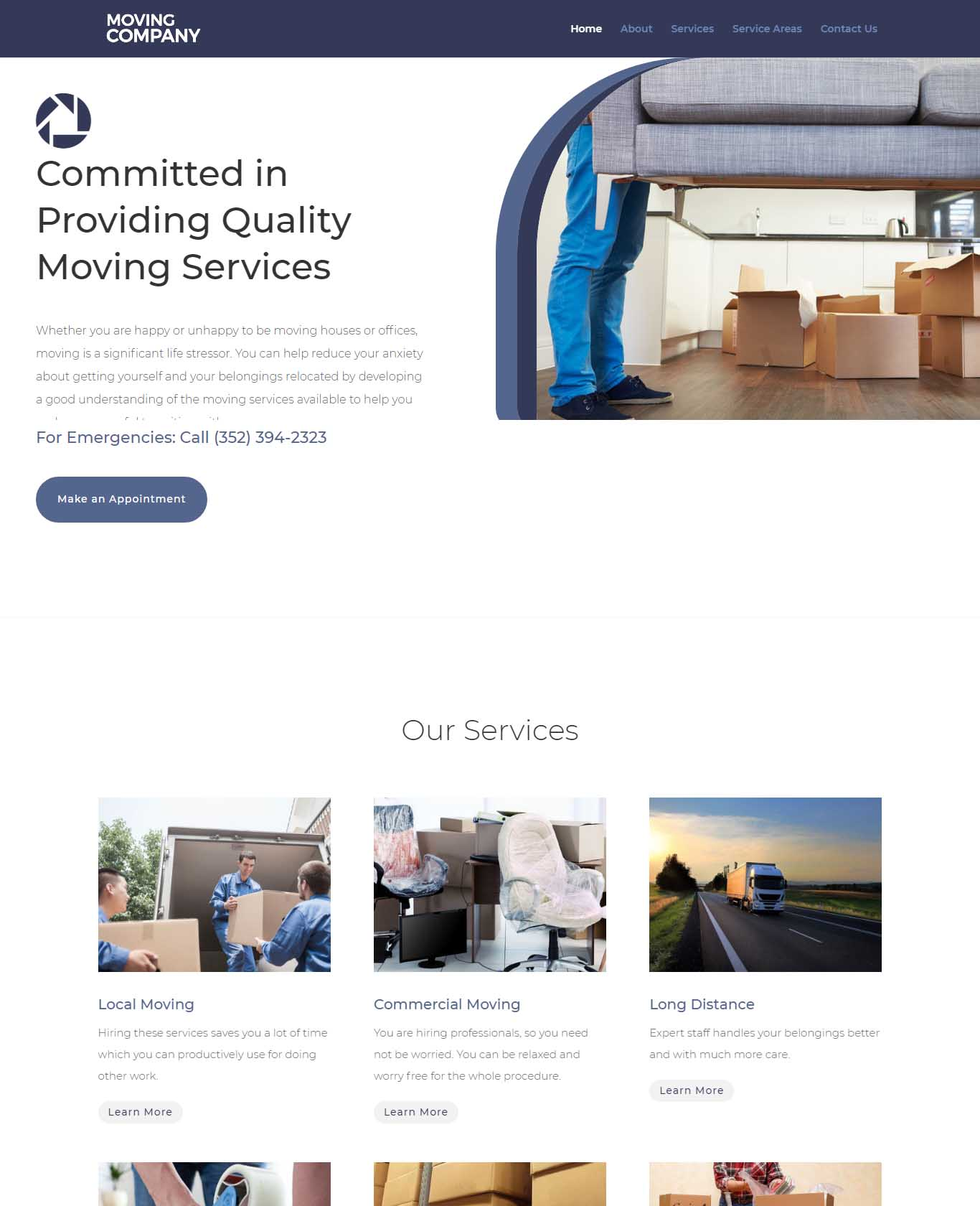 Moving Website Sample Design 1